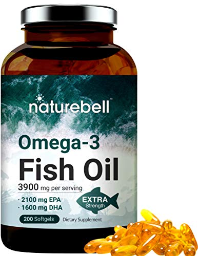Triple Strength Omega 3 Fish Oil 3900mg Per Serving, 200 Soft-Gels, High EPA and DHA, Support Brian and Heart Health, Made in USA