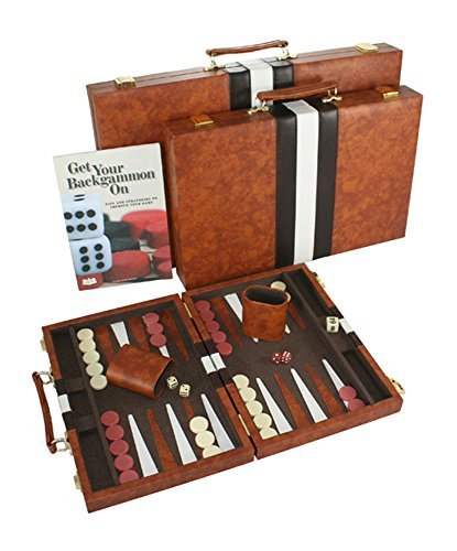 Get the Games Out Classic Backgammon Board Game Case Set - Brown