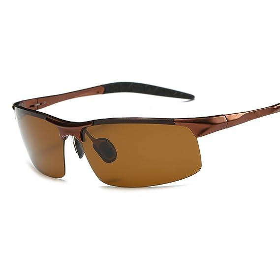 ELITERA Deporte Gafas de sol Hombre Aleación de magnesio de aluminio E8177 (Marrón): Amazon.es: Ropa y accesorios
