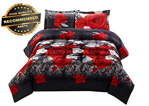 Gatton Premium New 3D Comforter Set Queen -3 Piece 3D Red and White Roses Retive PRT | Style Collection Comforter-311012455