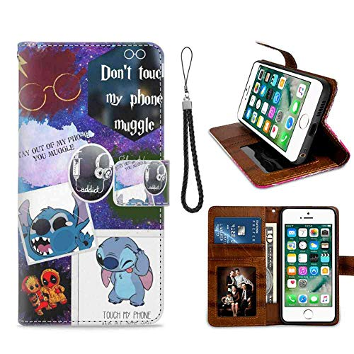 Phone Wallet Case for Apple iPhone 7 Plus or iPhone 8 Plus [5.5inch] Stitch Harry Potter Music Love Groot Deadpool Friendship My Wallpaper Wrist Chain Strap