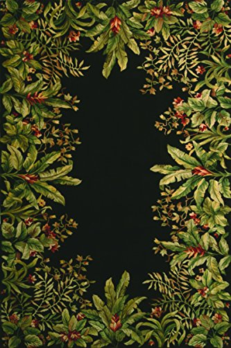 KAS Oriental Rugs Emerald Collection Tropical Border Area Rug, 2' x 3', Black