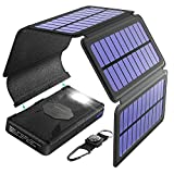 Verano Portable Solar Charger 24000mAh with 4 Detachable Solar Panels with 2 Inputs 2 USB Outputs, Waterproof Solar Phone Charger with LED Flashlight and Carabiner, Supports Smartphones, Tablets, etc.
