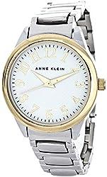 Anne Klein Women's White Dial Gold-tone Numerals Silver Bracelet Watch AK/1603WTTT