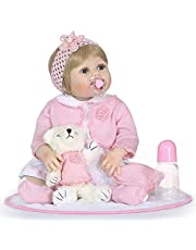 Decdeal Reborn Baby Girl Doll 22 inch Soft Full Silicone Vinyl Body Lifelike Toddler Doll Play House Bath Toy Gift for ages 3+ With Pink Sweater Plush Toys