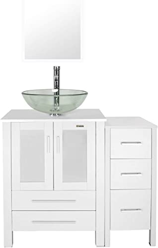 eclife 36 Bathroom Vanity Sink Combo White W Side Cabinet Vanity Clear Round Tempered Glass Vessel Sink 1.5 GPM Water Save Chrome Faucet Solid Brass Pop Up Drain,W Mirror A16B11W