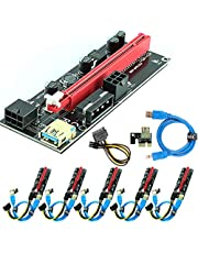 Ubit 6 Pack PCI-E Riser Express Cable 16X to 1X ( Dual-6pin / MOLEX) with Led Graphics Extension Ethereum ETH Mining Powered Riser Adapter Card+60cm USB 3.0 Cable