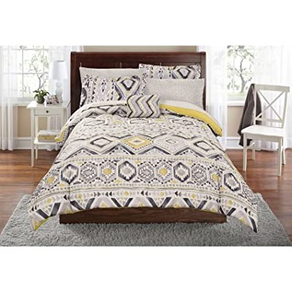 Mainstays Tribal Bed in a Bag Complete Bedding Set | Machine Washable for Easy Care (Full)
