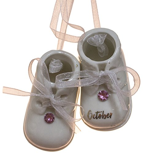 MIDWEST-CBK October Birthstone Baby Booties Porcelain Ornament