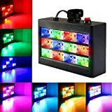 DJ Party Lights, SOLMORE 15W 12 LED Strobe RGB Stage Disco Lights Auto Sound Activated DJ Lights Adjustable Flash Speed Control for Party Wedding Show Birthday Parties AC 90-240V