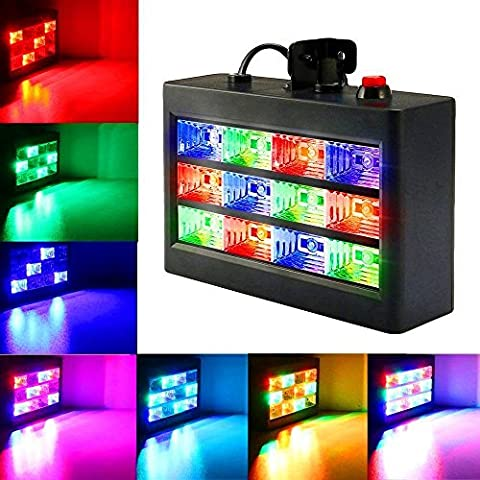 Strobe Party Lights, SOLMORE 15W 12 LED RGB Stage Disco Lights Auto Sound Activated DJ Lights Adjustable Flash Speed Control for Xmas Wedding Show Birthday Parties AC - Stage Lighting Package