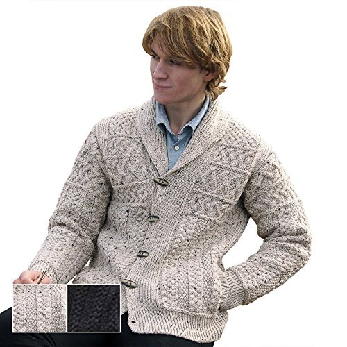 100% Irish Merino Wool Mens Shawl Collar Cardigan,Oatmeal,Small