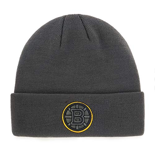 OTS NHL Boston Bruins Male Raised Cuff Knit Cap, Charcoal, One Size