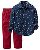Carter's Boys' 2T-4T 2 Piece Button-Front Top and Canvas Pants Set Print 2T