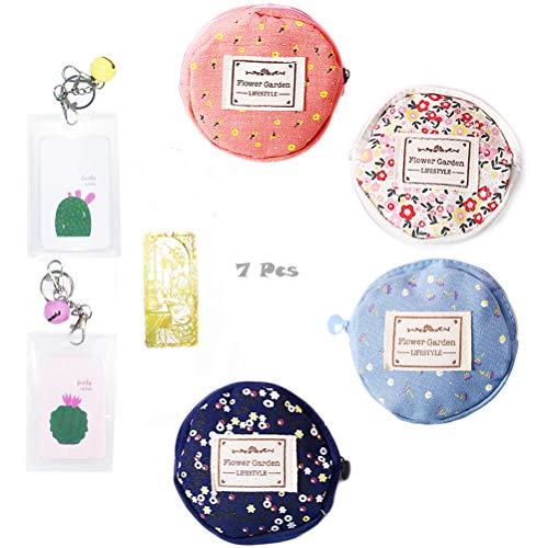 7 Pieces/Set 4Pcs Round Floral Cute Coin Purse Shape Coin Purse Flower Floral Canvas Pencil Pen Case Multi-Functional Cosmetic Makeup Bag;2Pcs Bell Keychain Card Holder;1Metal Bookmark