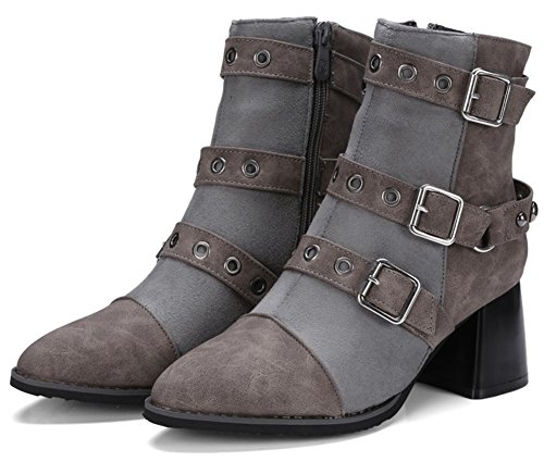 Buckle Zipper Biker Medium Studded Toe Short Boots Rivets Heel Pointed Straps Mofri Trendy Gray Side Women's Chunky x6wCH