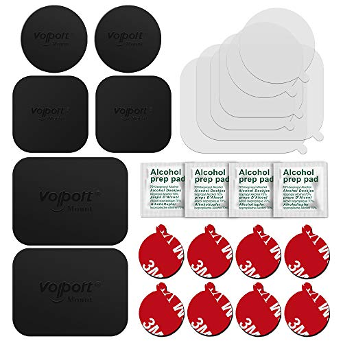 VOLPORT 3M Pop Sticky Adhesive and Mount Metal Plate Replacement Kit for Socket Mount and i Magnetic Phone Car Holder Base-8 Pack Round Double Side Tape Circle Sticker, 6 Pack Magnet MagicPlate Pad