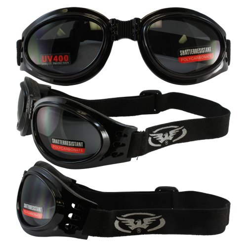 Adventure Foldable Goggles Black Frame Smoked Lenses ()
