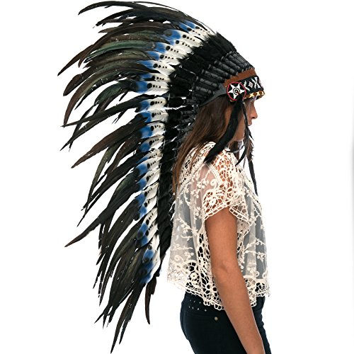 Indian Medicine Man Costume (Long Feather Headdress- Native American Indian Inspired- Handmade Halloween Costume for Men Women with Real Feathers - DOUBLE FEATHER Blue)