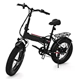 "Electric Folding Mountain Bike with 20"" Fat Tire, 48V 8AH Large Capacity SAMSUNG Lithium Battery Snow Beach Bicycles with 350W Powerful Motor and Shimano 6 Speeds Gear"