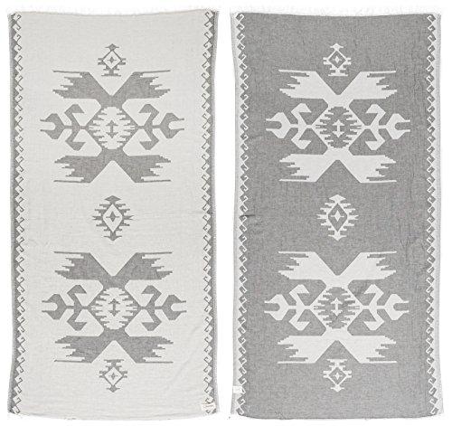 Bersuse 100% Cotton Oaxaca Dual-Layer Handloom Turkish Towel-37X70 Inches, Silver Gray