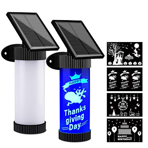 Qing Z Solar Lights Outdoor, Flame Light Waterproof Blue Led Flame Effect Light and 4 Pcs Stickers, Pack of 2
