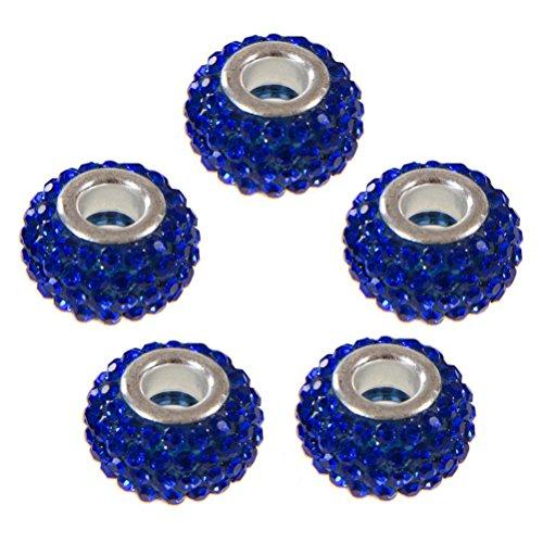 Perle Shamballa en Cristal (Lot de 5 de couleur Bleu marine) Diamètre : 14mm