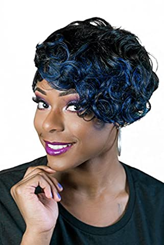 Luxurious Hair Wig premium quality Isis Red Carpet, Keyshia, premium fiber synthetic wig, COLOR-blue-black, curly, short, tapered, high quality, cheap (Carpet Prices)