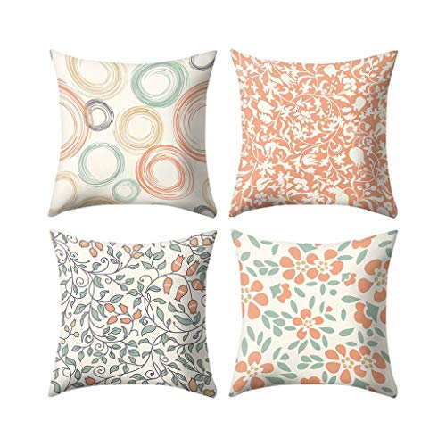 Respctful✿ Throw Pillows coves 4 Pack 45cm x 45cm,Jacquard Colorful Print, Square Throw Pillow for Chair, Deco Indoor,