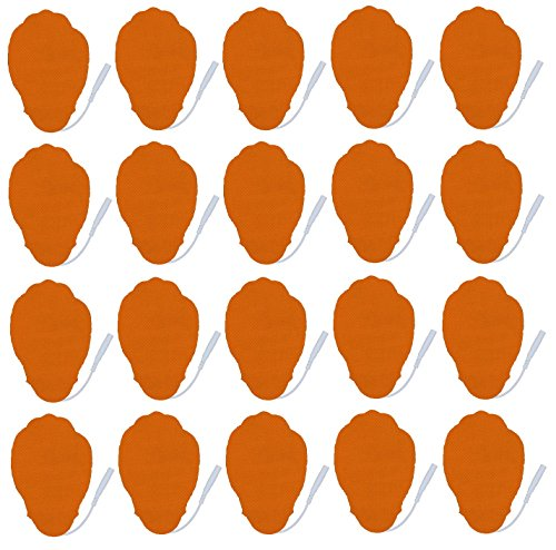 10 Pairs of Pin-inserted Premium Long Life Reusable Self Stick Large Hand-shaped Electrode Pads for HealthmateForever Muscle Pulse Massager (orange)