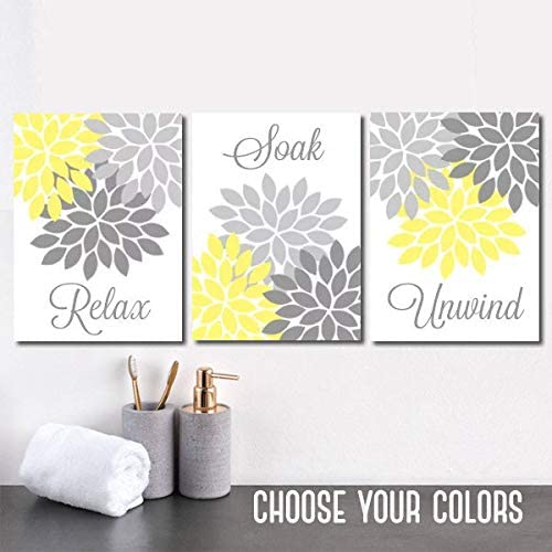 Amazon Com Yellow Gray Bathroom Decor Bathroom Wall Art Canvas Or Prints Bathroom Decor Yellow Gray Flower Set Of 3 Relax Soak Unwind Wall Decor 8x10 Inch Posters Prints