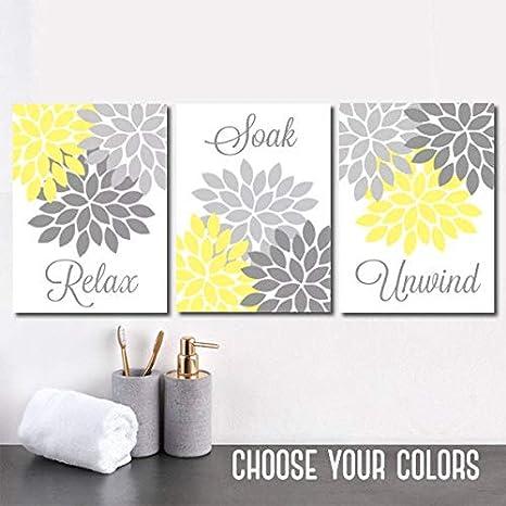 Strange Amazon Com Yellow Gray Bathroom Decor Bathroom Wall Art Interior Design Ideas Jittwwsoteloinfo