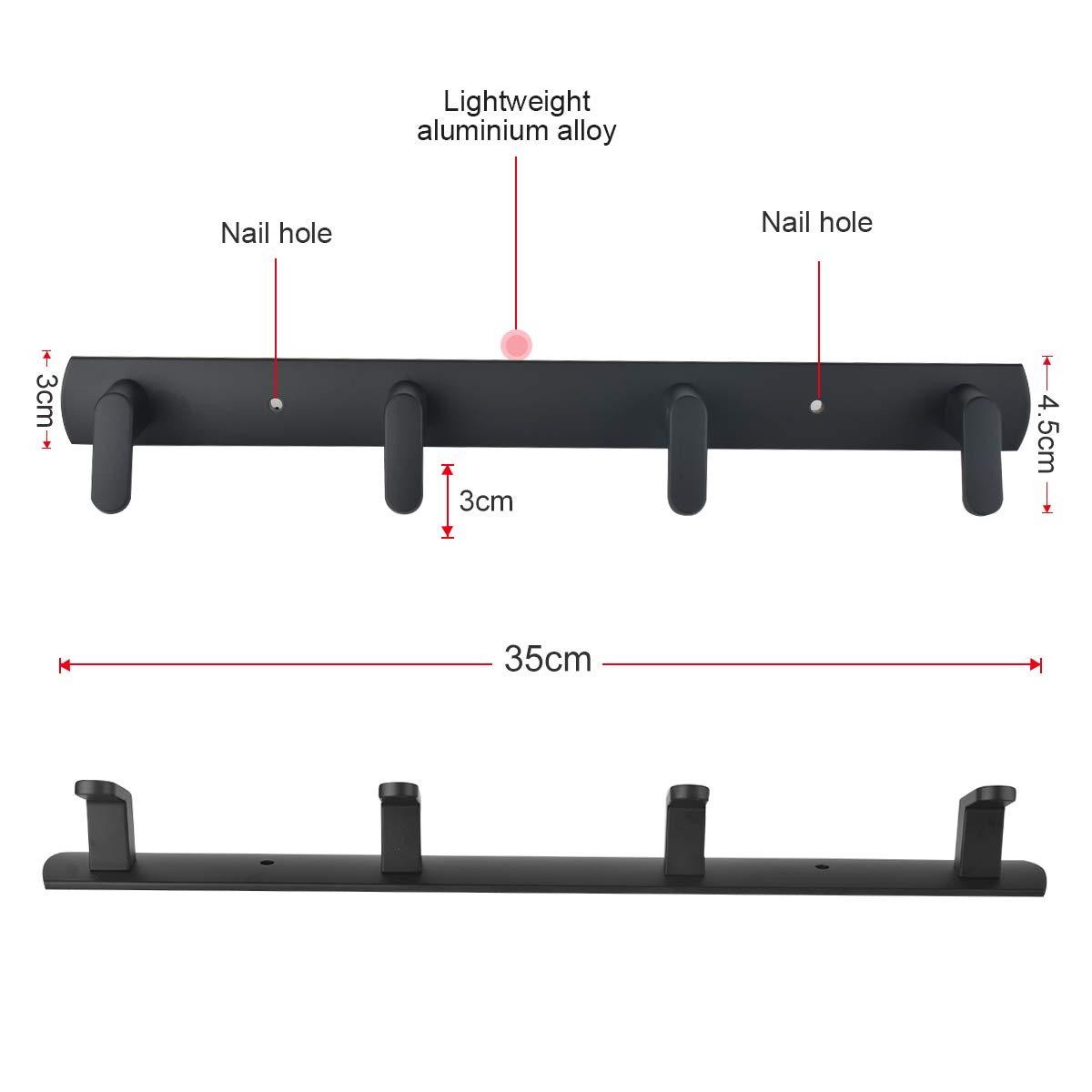 Amazon.com: Perchero de pared moderno con 4 ganchos de metal ...