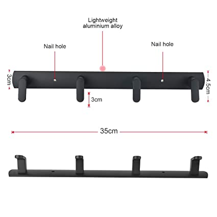 Amazon.com: Perchero de pared moderno con 4 ganchos de metal ...