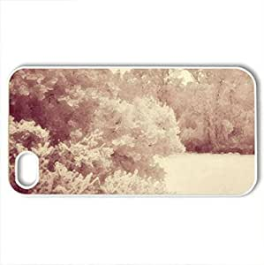 corner - Case Cover for iPhone 4 and 4s (Winter Series, Watercolor style, White)