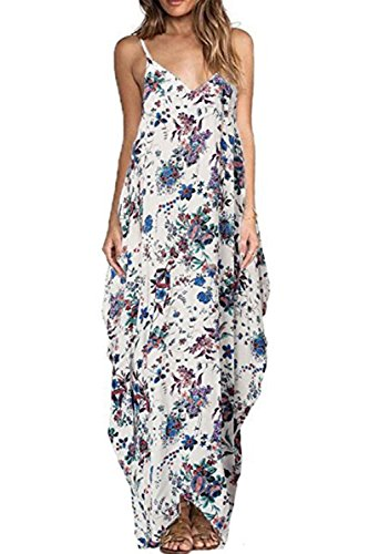 Allfennler Women's Boho Floral Print V Neck Spaghetti Strap Long Maxi Dress Sundress (Blue Sundress Dress)