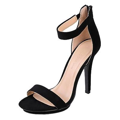Wild Diva Amy-01 Womens Open Toe Ankle Strap High Stiletto Heel Platform Pump Sandal | Heeled Sandals