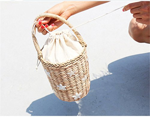 Japan Estive Manualbages Stile 04 Benna Di Vacanze Rotonda St027 Donne Barile Paglia Grano Cilindrici Tessuto In Borsa SYFcqrOYw