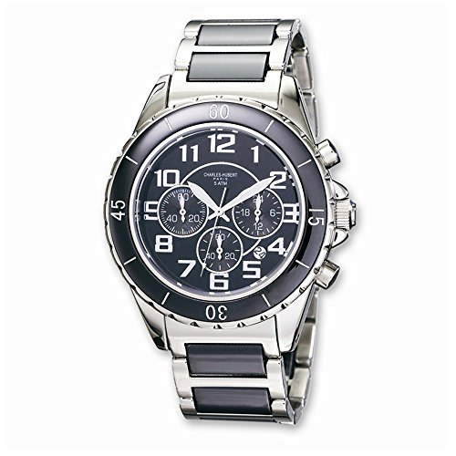 Charles-Hubert, Paris Men's 3754-B Premium Collection Black Ceramic and Stainless Steel Chronograph Watch