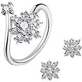 J.Rosée Parure Anello e Orecchini in argento Sterling 925 con Cristalli Perfetto regalo per amore