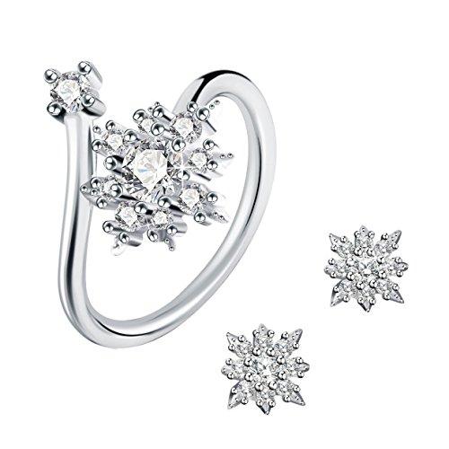 19 opinioni per J.Rosée Parure Anello e Orecchini in argento Sterling 925 con Cristalli Perfetto