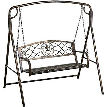 Amazon.com : Yaheetech Outdoor Porch Patio Swing Chair & Outdoor ...