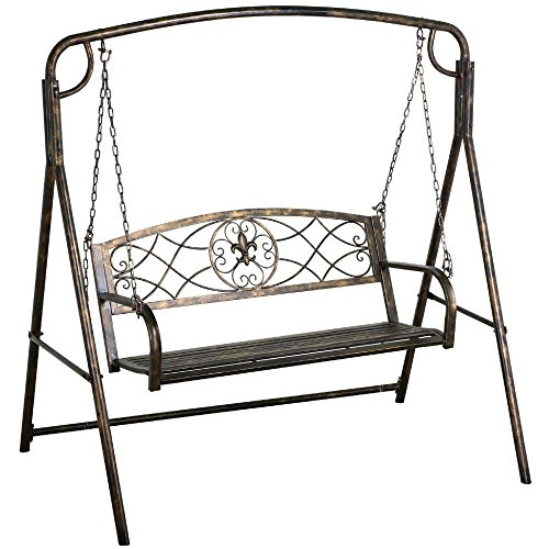 Yaheetech Outdoor Porch Patio Swing Chair & Outdoor Metal Swing Frame ()