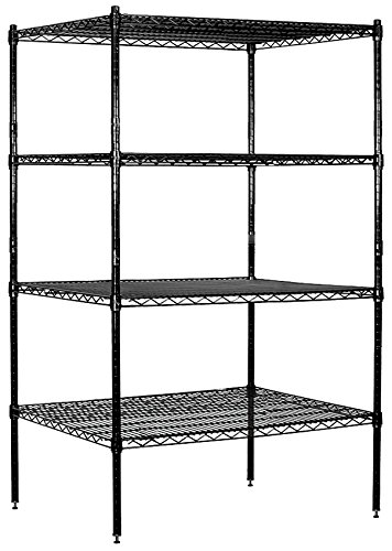 Salsbury Industries Stationary Wire Shelving Unit, 36-Inch Wide by 63-Inch High by 24-Inch Deep, Black by Salsbury Industries