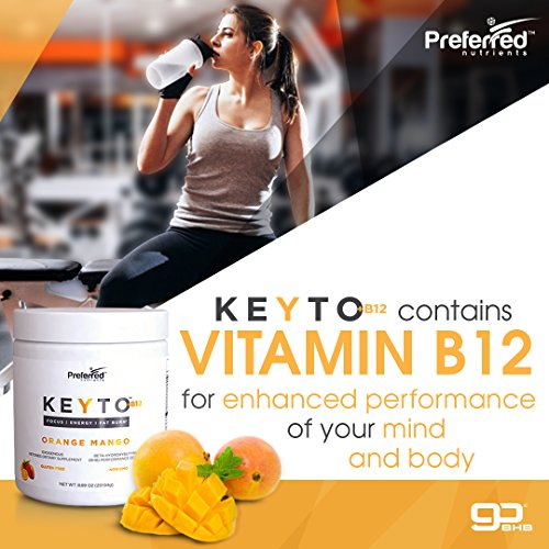Keto BHB Salts Exogenous Ketones – Beta-Hydroxybutyrate Supplement Powder Vitamin B12 for Mental Clarity, Energy and Fat Burn – Orange Mango KEYTO by Preferred Elements
