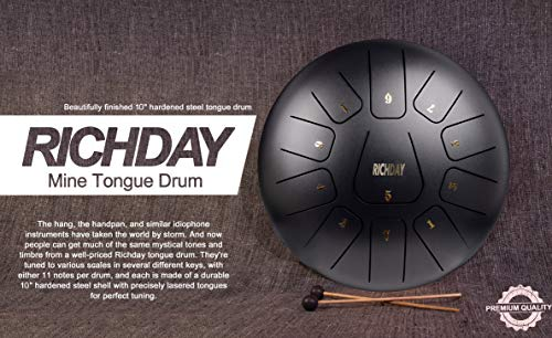 Richday Mini Tongue Drum Steel Percussion Hang Drum 11 Notes 10 Inches with Padded Travel Bag by Richday (Image #1)