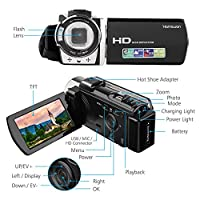 HAMSWAN Video Camera, Camcorder Full HD Digital Camcorder 1080P 24MP, 16X Digital Zoom, 3.0 Inch LCD Screen with 270 Degree Rotation, HDMI Output from HAMSWAN