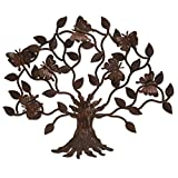 NOVICA Artisan Crafted Large Cutout Iron Outdoor Wall Decor, Brown, Butterfly Tree'