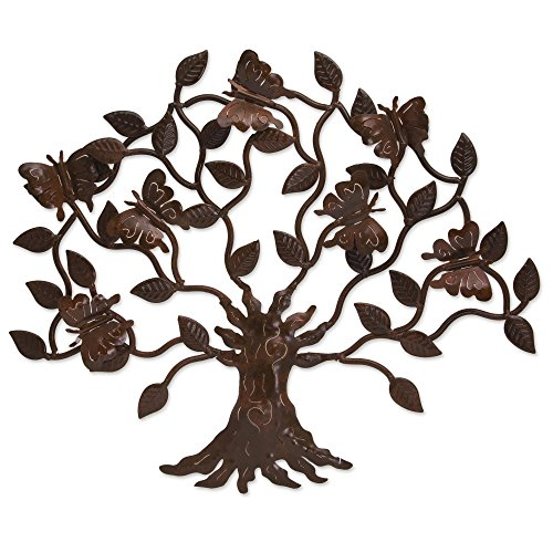 Cheap  NOVICA Artisan Crafted Large Cutout Iron Outdoor Wall Decor, Brown, 'Butterfly Tree'