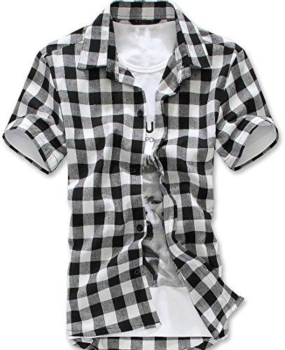 [ルビタス] チェック シャツ メンズ 半袖 ボタン 格子柄 ジャケット カッコイイ ゴルフ ウェア